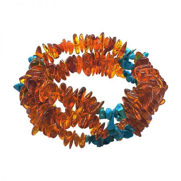 Cognac Amber /Turquoise Stretch Bracelet