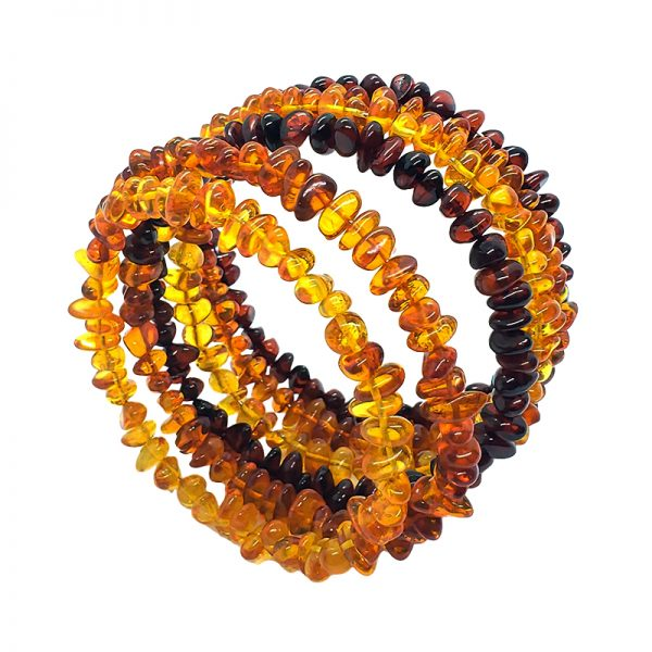 Cognac Multi-Color Amber Memory Wire Bracelet