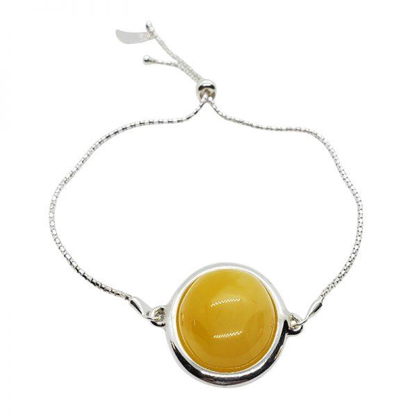 Butterscotch Amber Round-Shape Stones Adjustable Bracelet