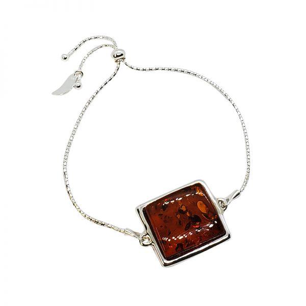 Cognac Amber Stones Adjustable Bracelet