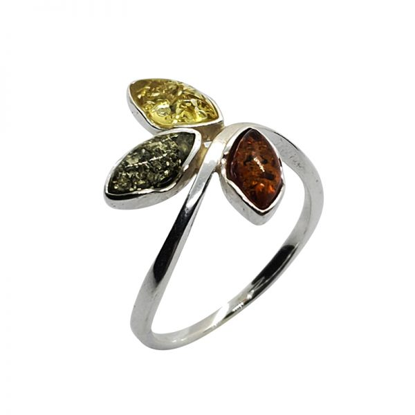 Multi-Color Amber Sterling Silver Ring