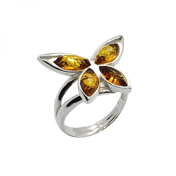 """Cognac Amber """"Butterfly"""" Adjustable Ring"""