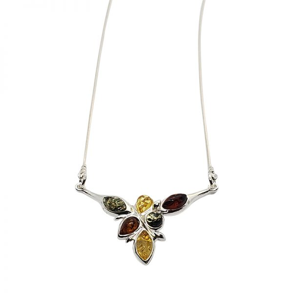 Multi-Color Amber Sterling Silver Necklace