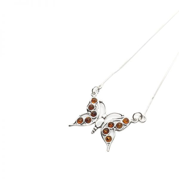 Cognac Amber Sterling Silver Butterfly Necklace