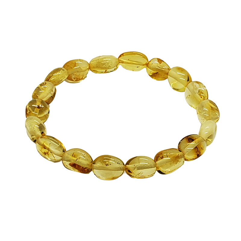 Citrine Color Amber Stretch Bracelet