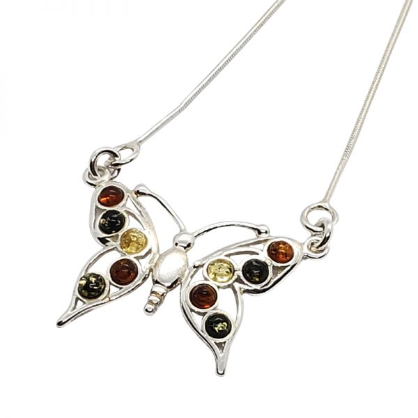 Multi-Color Amber Sterling Silver Butterfly Necklace