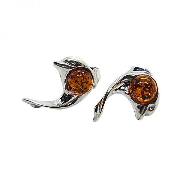 Cognac Amber Dolphin Stud Earrings