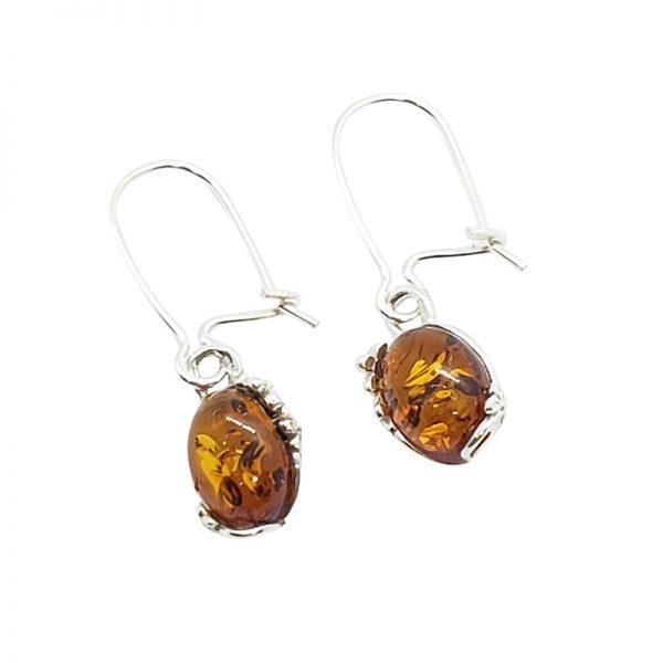 Cognac Amber / Flower Design Silver Dangle Earrings