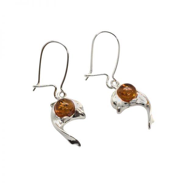 Cognac Amber / Silver Dolphin Earrings On Hooks