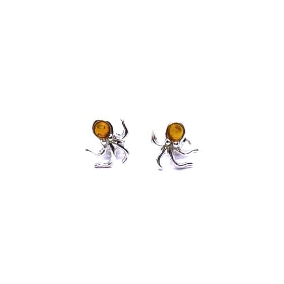 """Cognac Amber Post Stud """"Octopus"""" Earrings"""
