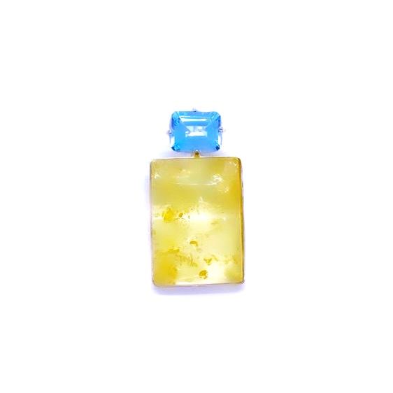 Citrine Amber/Blue Topaz Pendant