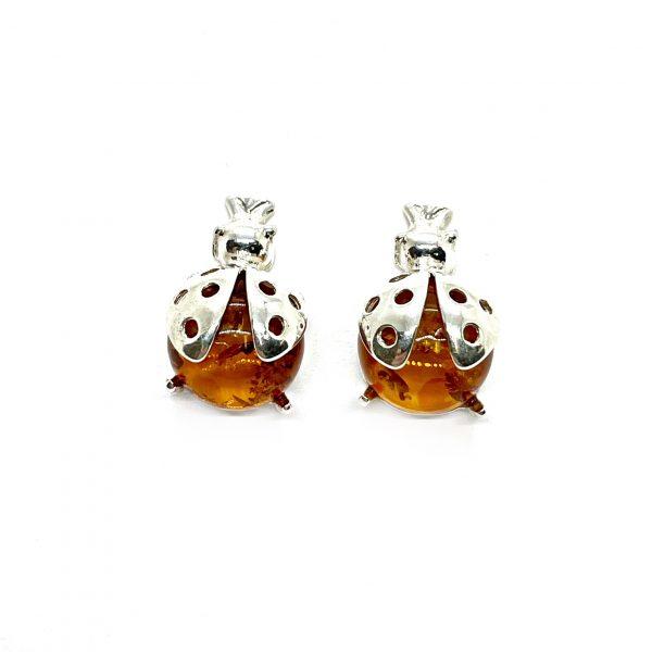 Cognac Amber Lady Bag Stud Earrings