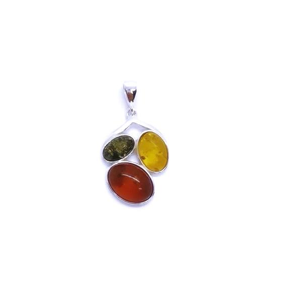 Multi Color Amber .925 Silver Pendant
