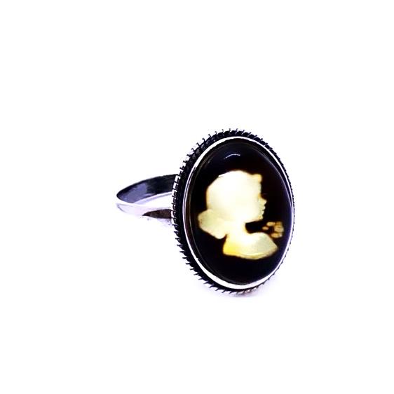 "Amber Cameo/Intaglio ""Lady"" Adjustable Ring"