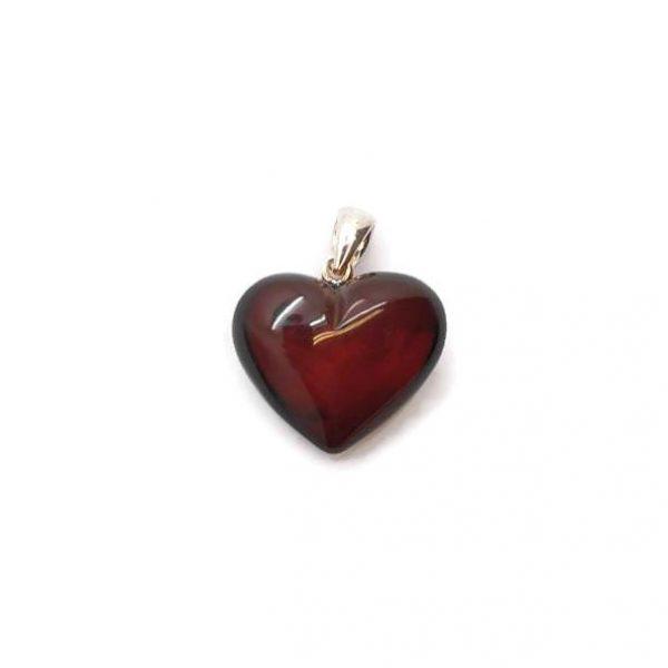 Cherry Amber Heart Design Silver Pendant