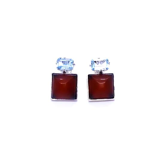 Cherry Amber/Blue Topaz Stud Earrings