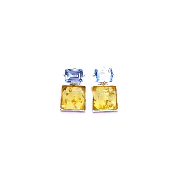 Citrine Amber/Blue Topaz Stud Earrings