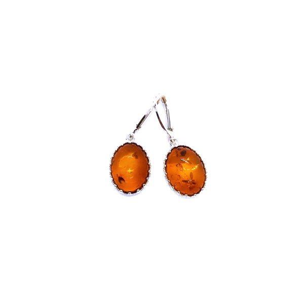 Cognac Amber Dangle Silver Earrings
