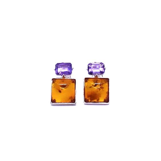 Cognac Amber/Amethyst Stud Earrings