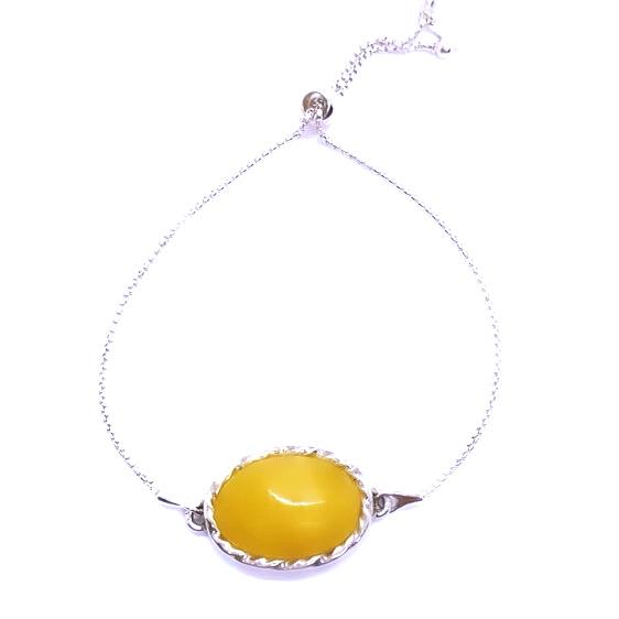 Butterscotch Amber Oval-Shape Stones Adjustable Bracelet