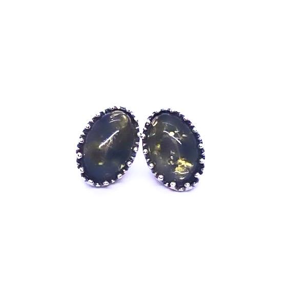 Green Amber Oval-Shape Stud Earrings