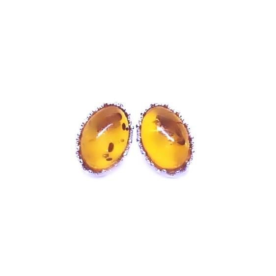 Cognac Amber Oval-Shape Stud Earrings
