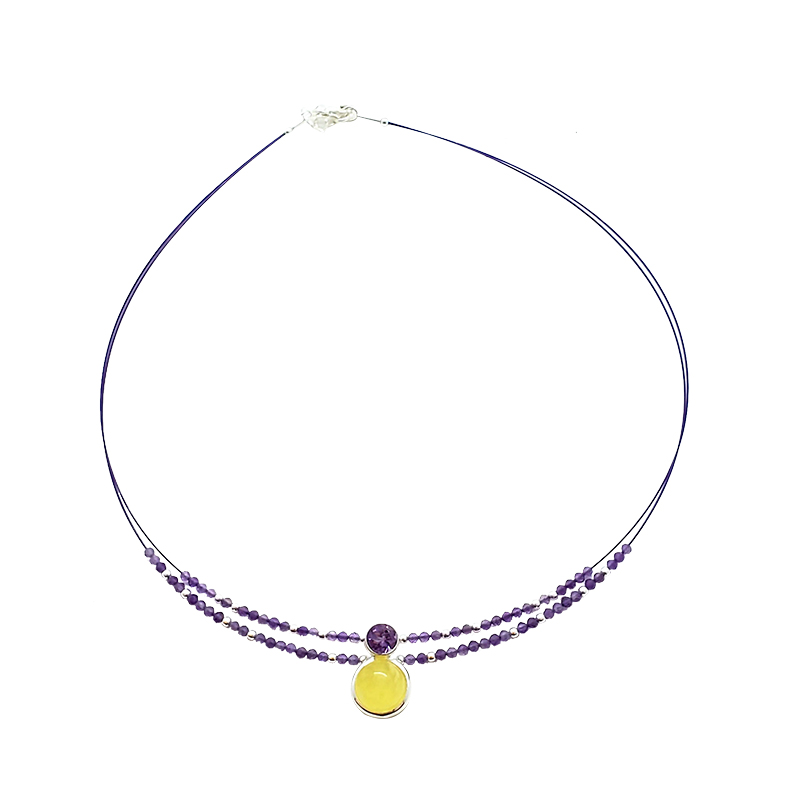 Butterscotch Amber / Amethyst Necklace