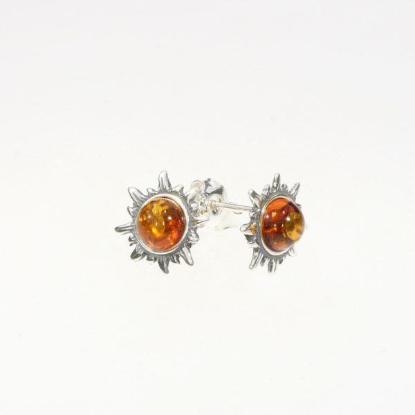 """Cognac Amber .925 Silver """"Sun"""" Stud Earrings"""