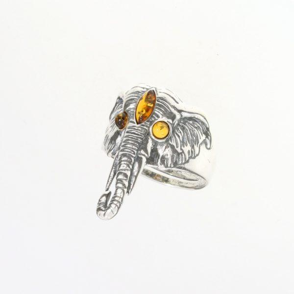 "Cognac Amber 'Elephant"" Adjustable Ring"