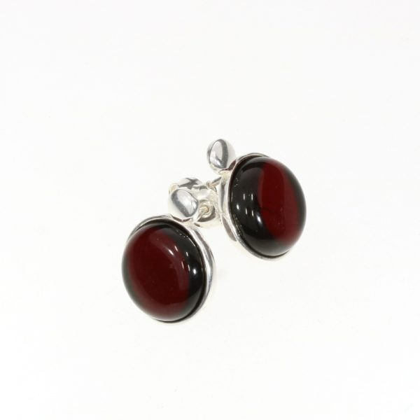 Cherry Amber Round-Shape Stud Earrings