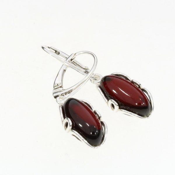 Cherry Amber Sterling Silver Dangle Earrings