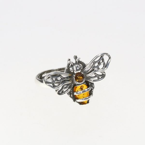 Bee Adjustable Amber Silver Ring