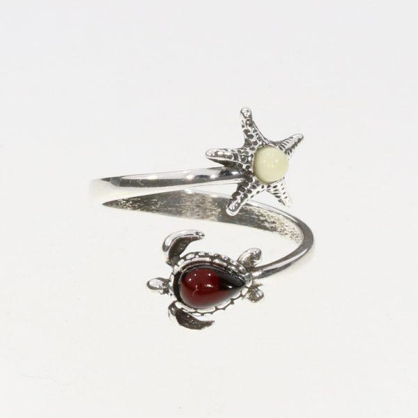 Multi-Color Amber Sterling Silver Turtle Adjustable Ring