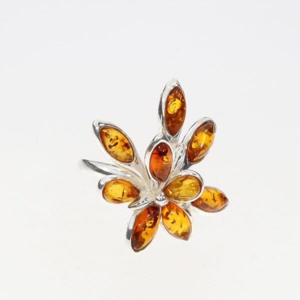 Cognac Amber Flower-Shape Silver Ring
