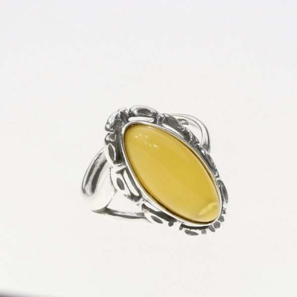 Butterscotch Amber Adjustable Silver Ring
