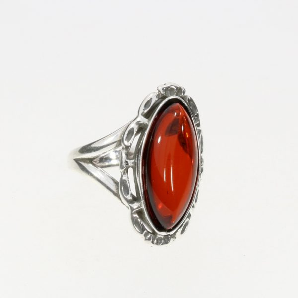 Cherry Amber Adjustable Silver Ring