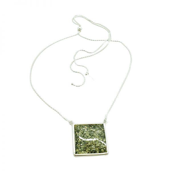 Green Amber Sterling Silver Slider Necklace