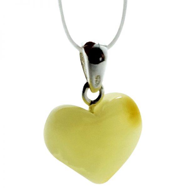Butterscotch Amber Heart Design Silver Pendant