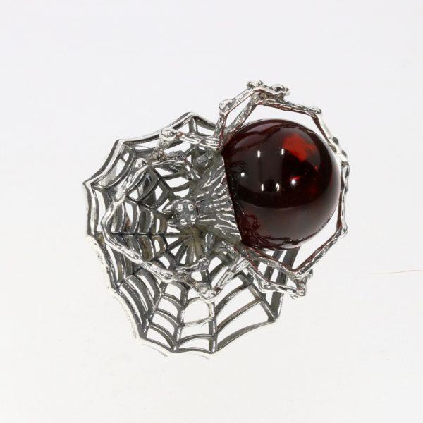 Cherry Amber Spyder Adjustable Ring